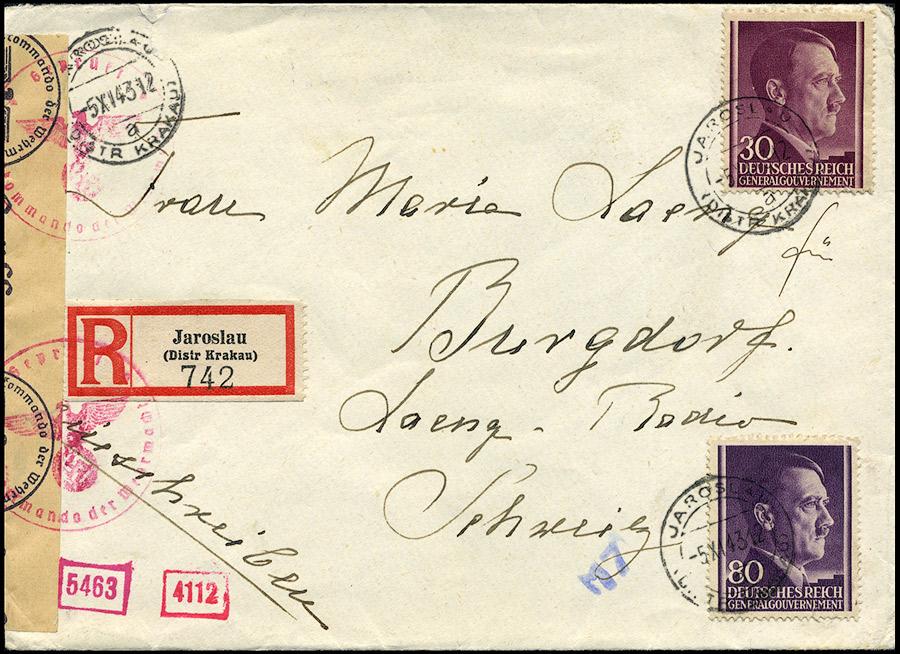 Generalgouvernement R-brief JAROSLAU - Burgdorf SCHWEIZ - CENZURY 1943