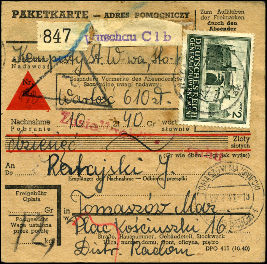GG -Przekaz paczkowy PAKETKARTE Warschau C1 - Tomaszów Mazowiecki 1943