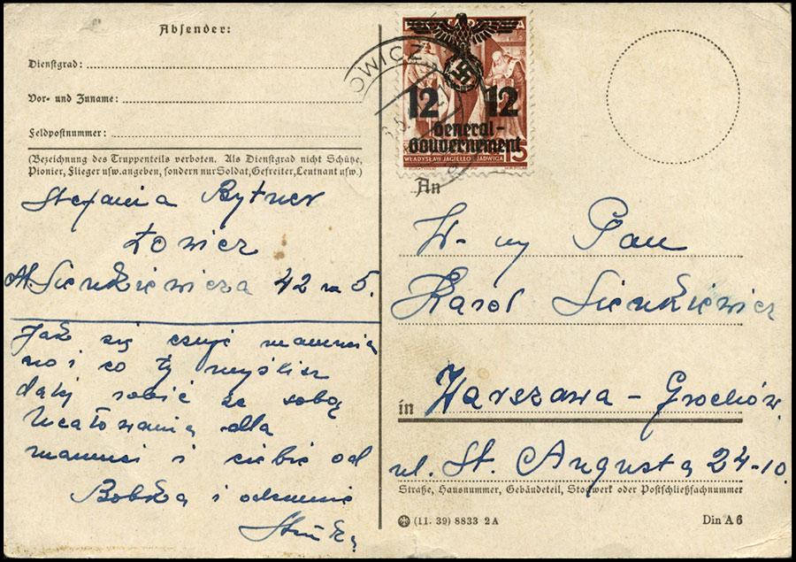 GG postkarte ŁOWICZ - Warszawa Grochów Mi. 33ll 1940