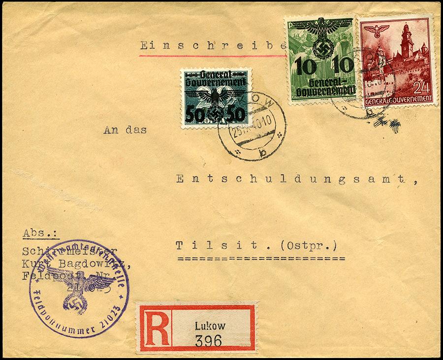 Generalgouvernement R-brief Feldpost ŁUKÓW - Tilsit, Советск, Tylża 1940