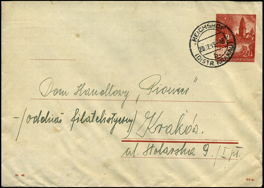 GG - KOPERTA Ck.2 / Ganzache Umschlag U2 sygn. III.42 Reischof- Kraków 1943