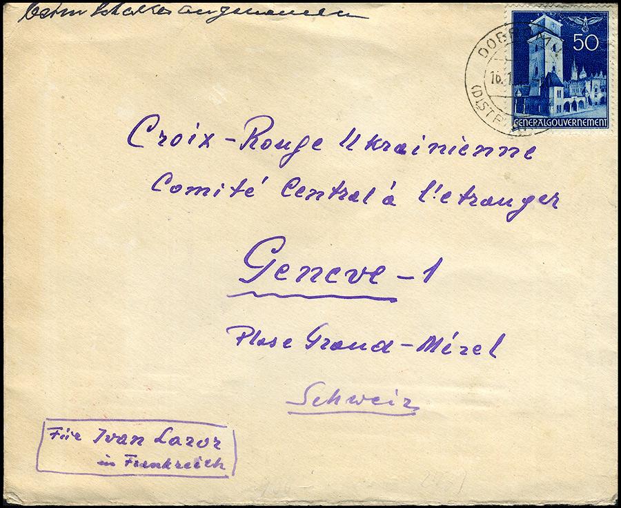 GG list DOBROMIL - GENEVE Schweiz Red Cross/ Czerwony Krzyż CENZURY 1942