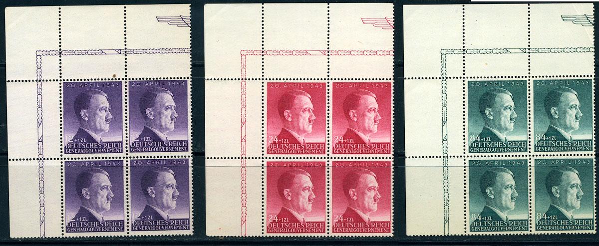 Generalgouvernement Mi. 101-103 czyste ** MNH czwórki 1943