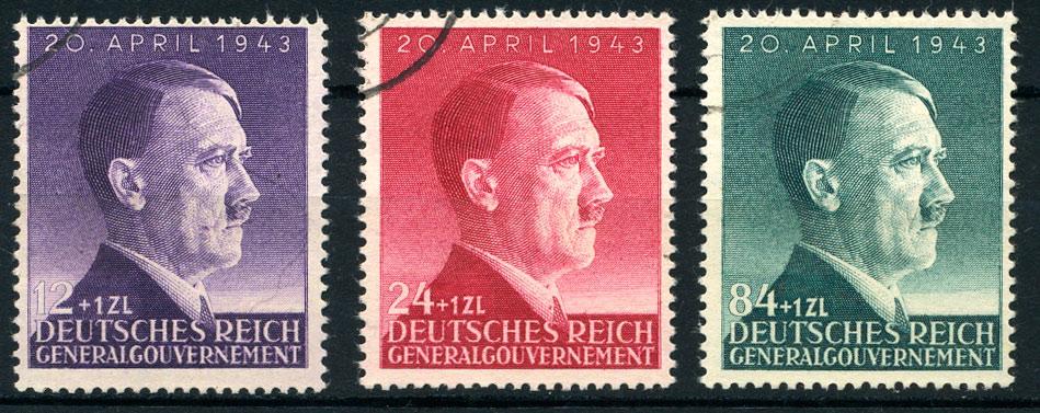 Generalgouvernement znaczki seria Mi. 101-103 kasowane 1943