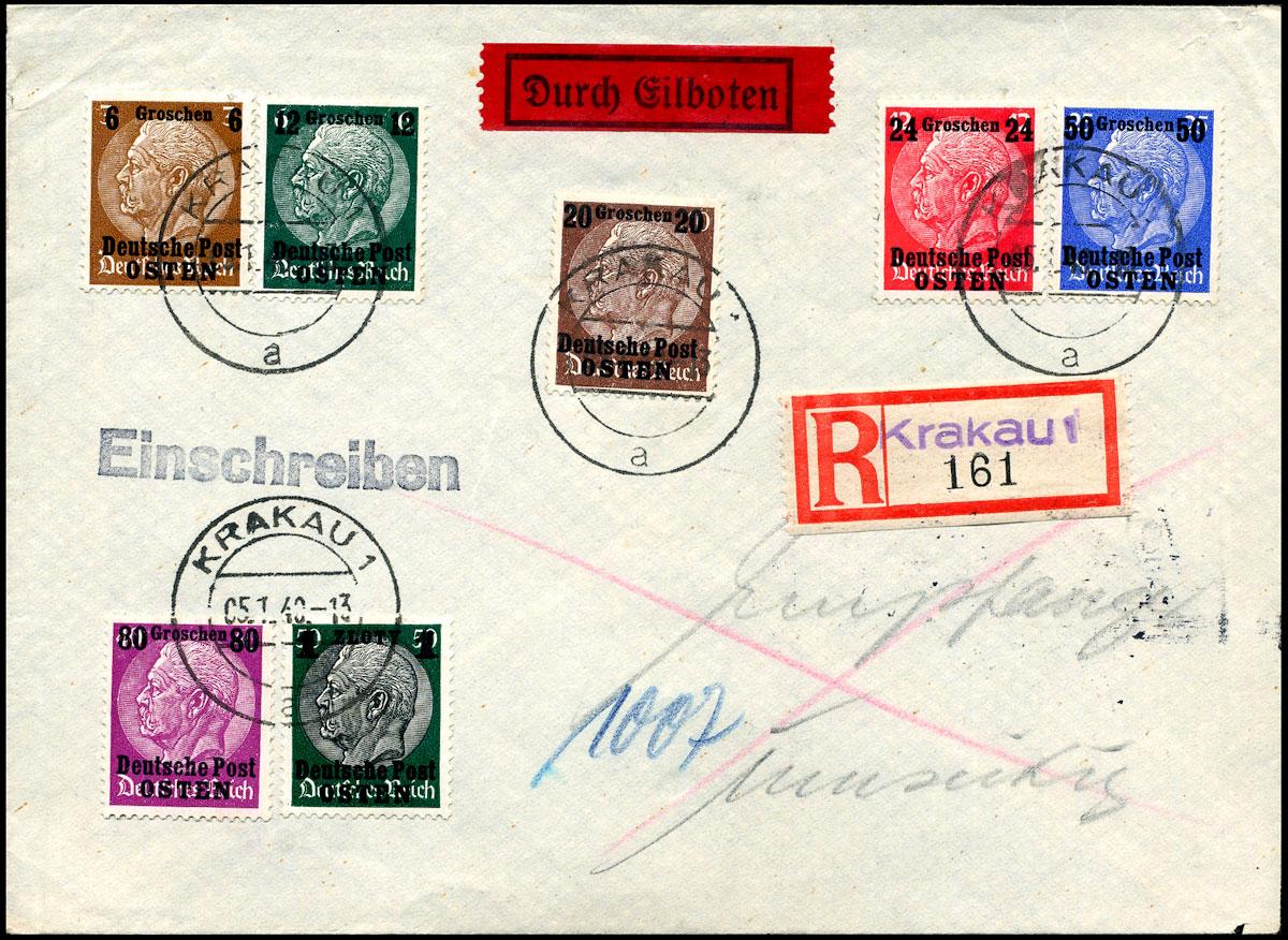 Generalgouvernement R-brief KRAKAU - HALLE 1940