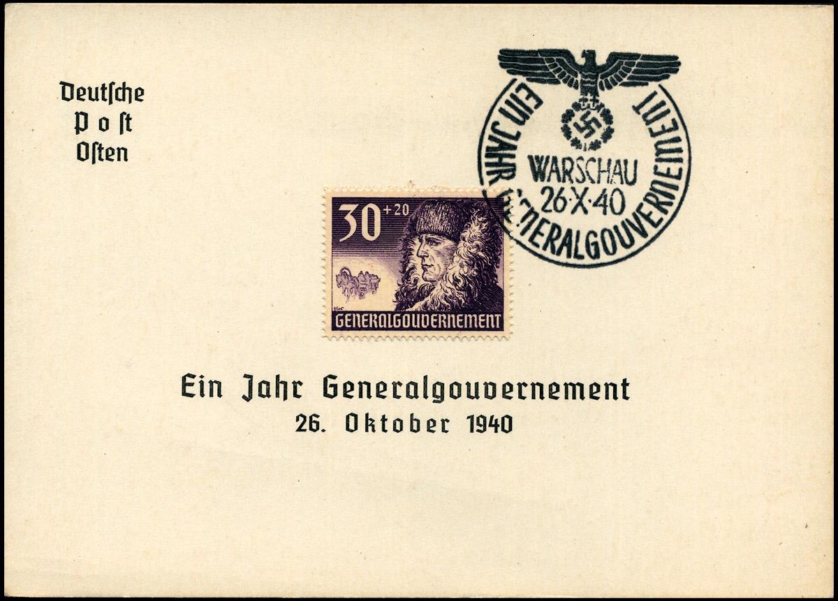 Kasownik okolicznościowy nr 6B Ein Jahr Generalgouvernement Warschau 26 X 1940