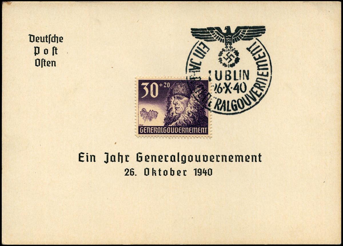 Kasownik okolicznościowy nr 6C Ein Jahr Generalgouvernement Lublin 26 X 1940