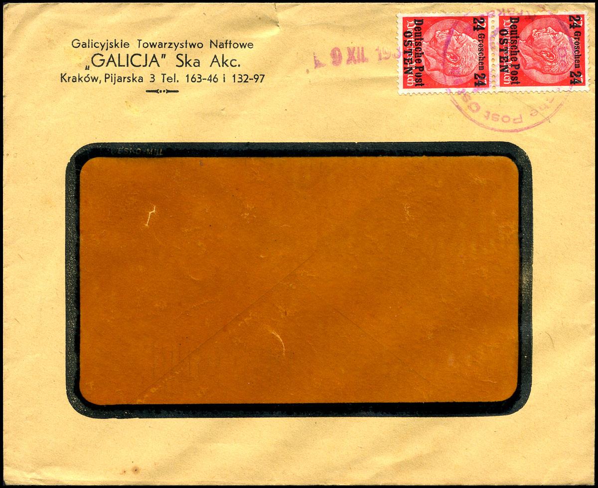 GG list firmowy Galicyjskie Towarzystwo Naftowe GALICJA 1939