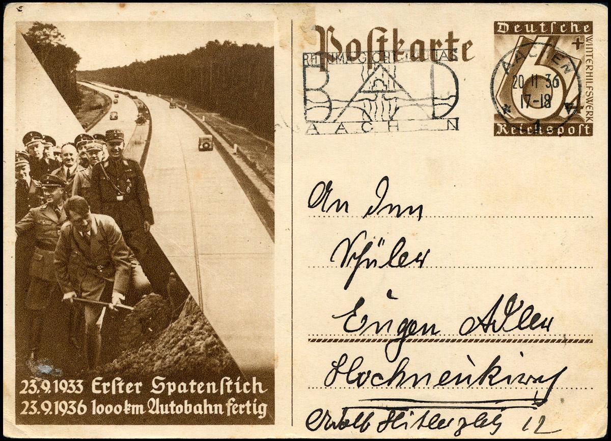 """Deutsches Reich WHW ganzache P 263 """"1000 km Autobahn fertig"""" SSt Bad Aachen 1936"""