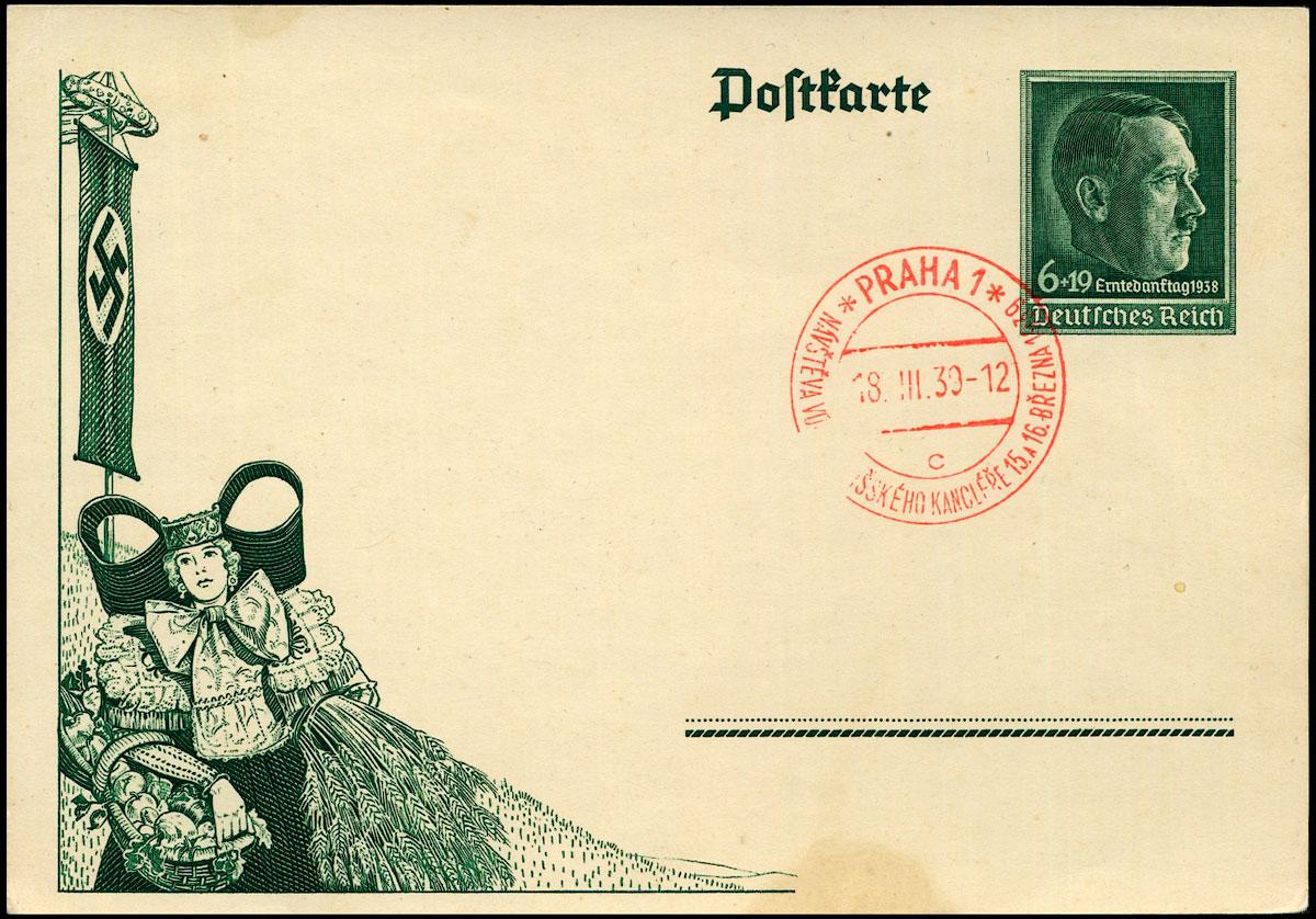 Deutsches Reich Ganzache P 273 Erntedanktag SST Prag 1938