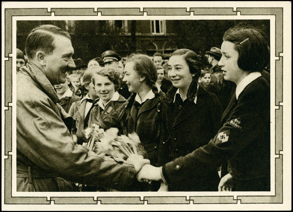 Deutsches Reich - Propaganda postkarte ganzsache Adolf Hitler Bund Deutscher Mädel 1939
