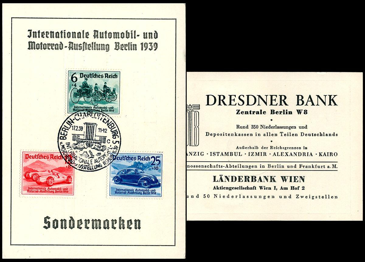 Deutsches Reich - FDC Karte Automobil Ausstellung Berlin Mi Nr. 686-88 1939