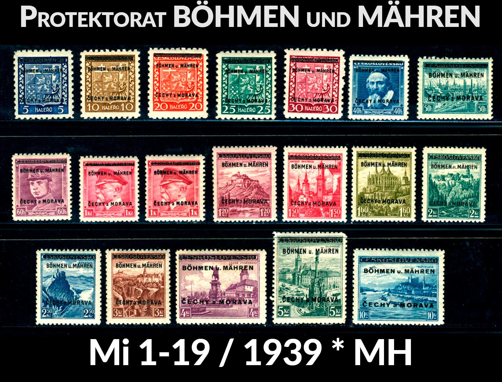 Protektorat Böhmen und Mähren Mi. 1-19 *MH 1939